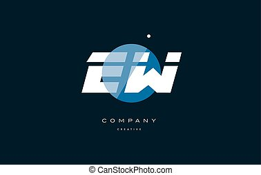 ew e w blue white circle big font alphabet company letter...