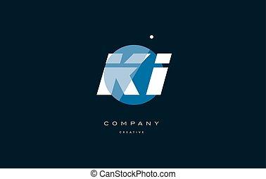 ki k i blue white circle big font alphabet company letter...