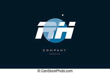 rh r h blue white circle big font alphabet company letter...