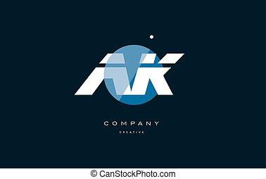 ak a k blue white circle big font alphabet company letter...