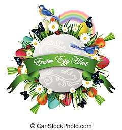 Happy ester card - Happy Easter card with eggs camomiles...