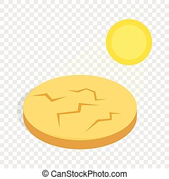 Drought cracked desert landscape isometric icon 3d on a...