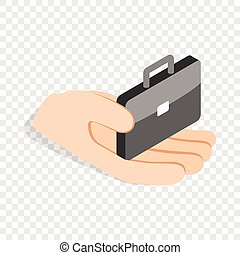 Hand holds a suitcase isometric icon 3d on a transparent...