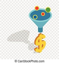 Sales funnel isometric icon