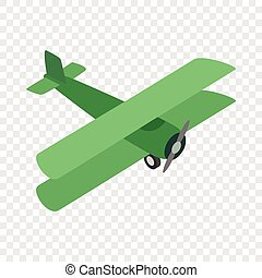 Green plane isometric icon