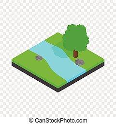 River landscape isometric icon