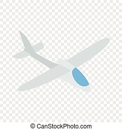 Grey plane isometric icon 3d on a transparent background...