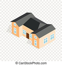 House with two outbuildings isometric icon 3d on a...