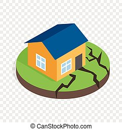 House after an earthquake isometric icon 3d on a transparent...