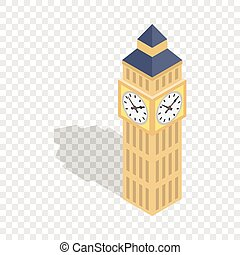 Big Ben isometric icon 3d on a transparent background vector...