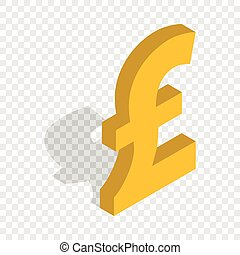 Sign of pound sterling isometric icon 3d on a transparent...