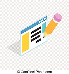 Document with pencil isometric icon