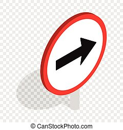 Right road sign isometric icon