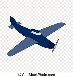 Blue plane isometric icon 3d on a transparent background...