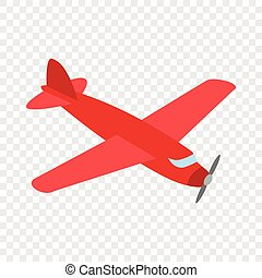 Red plane isometric icon 3d on a transparent background...