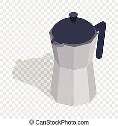 Steel coffee pot isometric icon