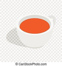 White cup of tea isometric icon 3d on a transparent...