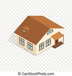 One storey house with porch isometric icon 3d on a...