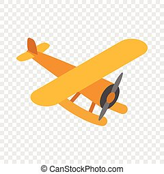 Orange plane isometric icon