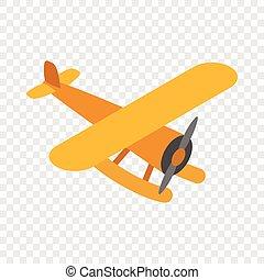Orange plane isometric icon