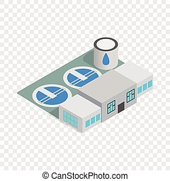 Water treatment building isometric icon 3d on a transparent...