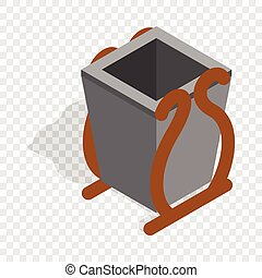Gray litter bin isometric icon 3d on a transparent...