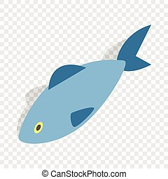 Fish isometric icon 3d on a transparent background vector...