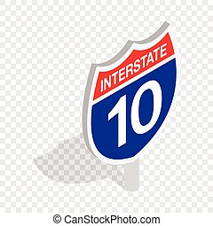 Interstate highway sign isometric icon