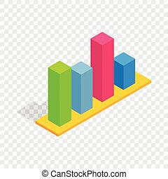 Chart in columns isometric icon