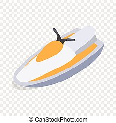 Jet ski isometric icon 3d on a transparent background vector...