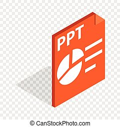 PPT file extension isometric icon 3d on a transparent...