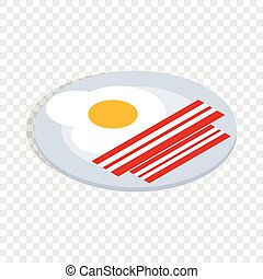 Scrambled eggs isometric icon 3d on a transparent background...