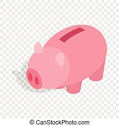 Piggy bank isometric icon 3d on a transparent background...