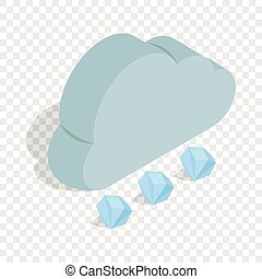 Cloud and hail isometric icon 3d on a transparent background...