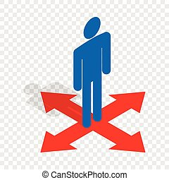 Man at crossroads isometric icon