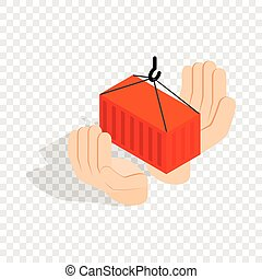 Hands holding container isometric icon 3d on a transparent...