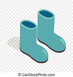 Rubber boots isometric icon 3d on a transparent background...