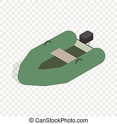 Inflatable boat isometric icon 3d on a transparent...