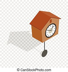 Cuckoo clock isometric icon 3d on a transparent background...