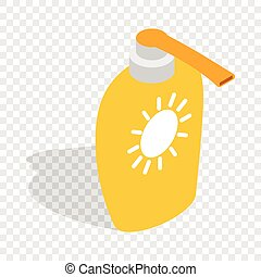 Bottle of suntan cream isometric icon 3d on a transparent...