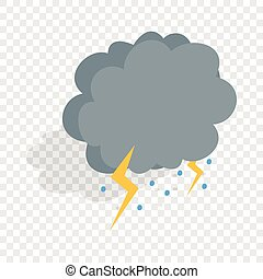 Cloud, lightning and hail isometric icon 3d on a transparent...