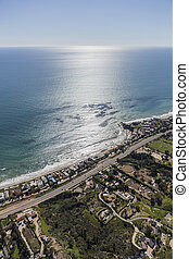 Malibu Coast Homes and Estates - Aerial view of beach front...