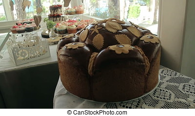 Loaf bread on the table at interior