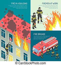 Fire Department Design Concept Set - Three colored fire...