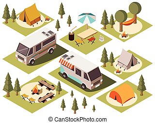 Camp Elements Isometric Set - Isometric set of camp elements...