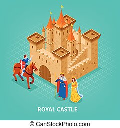 Royal Castle Isometric Composition