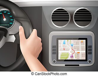 GPS Navigation In Car - Realistic vector illustration of...