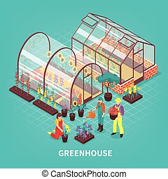 Greenhouse Isometric Composition - Colored greenhouse...
