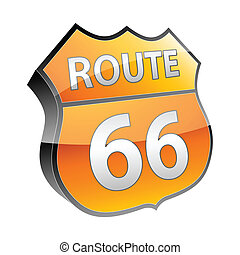 Route 66 3d icon vector illustration