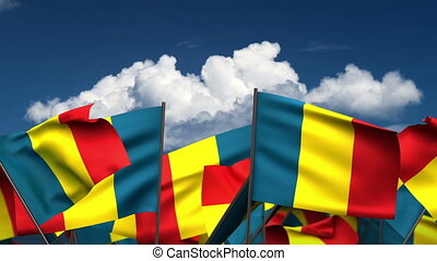 Waving Chadian Flags (seamless & alpha channel)